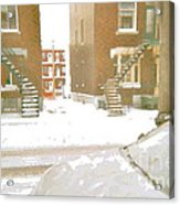 January Winter Street Winding Snow Covered Staircase Montreal Art Verdun Duplex Painting Cspandau Acrylic Print