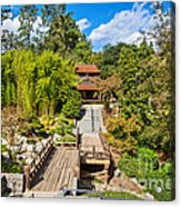 Japan In Pasadena - Beautiful View Of The Newly Renovated Japanese Garden In The Huntington Library. Acrylic Print