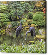 Japanese Bronze Cranes Sculpture By Pond Acrylic Print