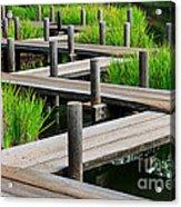 Japanese Garden Pier And Iris Acrylic Print
