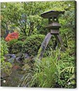 Japanese Stone Lantern By Water Stream Acrylic Print