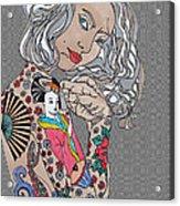 Japanese Tat Girl Grey  Acrylic Print