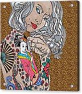Japanese Tat Girl Leopard Acrylic Print