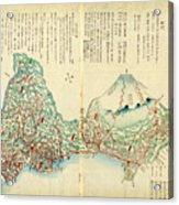 Japanese Wood Block Map Showing Mt Fuji 1830s Acrylic Print