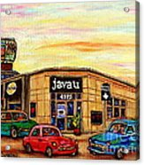 Java U Cafe Jean Talon Car Wash Coffee Shop Depanneur Montreal Art Sale Cspandau                     Acrylic Print