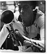Jazz Musician Miles Davis Looking At His Trumpet Acrylic Print