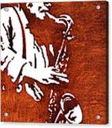 Jazz Saxofon Player Coffee Painting Acrylic Print