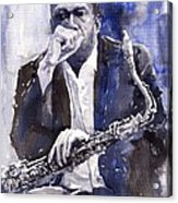 Jazz Saxophonist John Coltrane Blue Acrylic Print