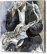 Jazz Saxophonist John Coltrane Yellow Acrylic Print