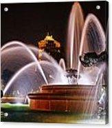 J.c. Nichols Memorial Fountain - Night Acrylic Print