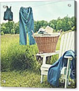 Jeans Hanging On Clothesline On A Summer Afternoon Acrylic Print