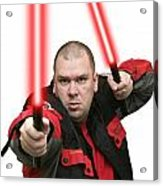 Jedi Master Randall M Rueff And Lightsaber Thirty Four Acrylic Print
