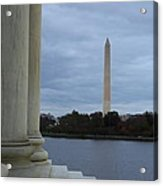 Jefferson Memorial And Washington Monument - Washington Dc - 01131 Acrylic Print by DC Photographer