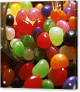 Jelly Beans Spilling Out Of Glass Jar Acrylic Print