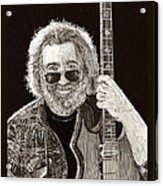 Jerry Garcia String Beard Guitar Acrylic Print