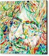 Jerry Garcia Watercolor Portrait.1 Acrylic Print by Fabrizio Cassetta