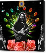 Jerry Spacepods Triple Jerry Ufo Roses Under Cosmic Sun Acrylic Print