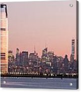 Jersey City And New York City  With Manhattan Skyline Over Hudso Acrylic Print