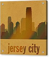 Jersey City New Jersey City Skyline Watercolor On Parchment Acrylic Print