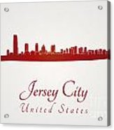 Jersey City Skyline In Red Acrylic Print