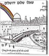 Jerusalem With Rainbow Acrylic Print