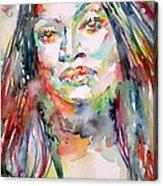 Jessye Norman - Watercolor Portrait Acrylic Print