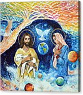 Jesus And Mary Cloud Colored Christ Come Acrylic Print