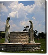Jesus And The Woman At The Well Cemetery Statues Acrylic Print
