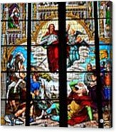 Jesus Angels Stained Glass Painting Inside Cologne Cathedral Germany Acrylic Print