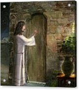 Jesus Knocking On The Door Acrylic Print by Cecilia Brendel
