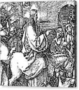 Jesus On The Donkey Palm Sunday Etching Acrylic Print