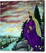 Jesus Overlooking Jerusalem -1 Acrylic Print