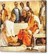 Jesus Washing Apostle's Feet Acrylic Print