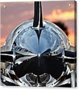 Airplane At Sunset Acrylic Print