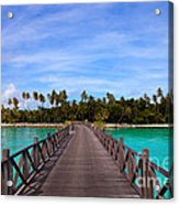 Jetty On Tropical Island Acrylic Print