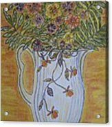 Jewel Tea Pitcher With Marigolds Acrylic Print