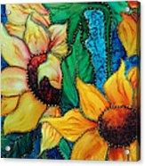 Jeweled Sassy Sunflowers Acrylic Print