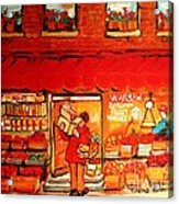 Jewish Culture In Montreal Paintings Of Warshaw's Fruit Store On St.lawrence Street Scene Art  Acrylic Print