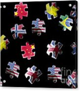 Jigsaw Puzzle Flag Pieces Acrylic Print