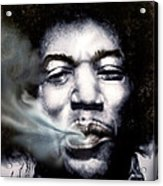 Jimi Hendrix-burning Lights-2 Acrylic Print by Reggie Duffie