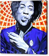 Jimi Hendrix Orange And Blue Acrylic Print