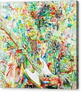 Jimi Hendrix Playing The Guitar Portrait.1 Acrylic Print by Fabrizio Cassetta
