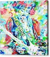 Jimi Hendrix Playing The Guitar.2 -watercolor Portrait Acrylic Print
