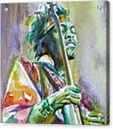 Jimi Hendrix Playing The Guitar.5 -watercolor Portrait Acrylic Print