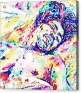 Jimi Hendrix Sleeping - Watercolor Portrait Acrylic Print
