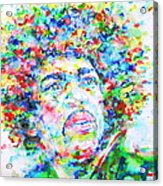 Jimi Hendrix  - Watercolor Portrait.3 Acrylic Print