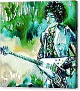Jimi Hendrix With Guitar Acrylic Print