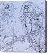 Jimmy Page And Robert Plant Live Concert-pen Portrait Acrylic Print