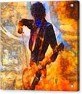 Jimmy Page Playing Guitar With Bow Acrylic Print