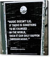 Jimy Hendrix Music Doesn't Lie Acrylic Print